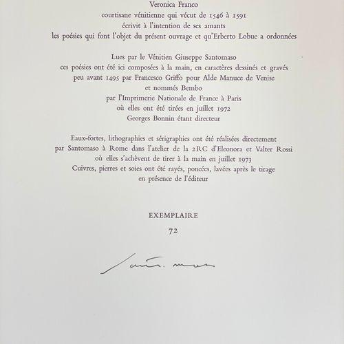 SANTOMASO. FRANCO Veronica. Rime. Rime di Veronica Franco Lette da Santomaso.  S…