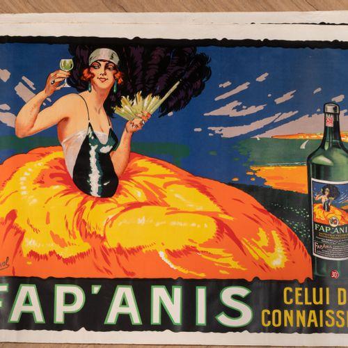 """DELVAL Henri Lot de 7 AFFICHES FAP'ANIS """"celui des connaisseurs""""  Vers 1925  Pub…"""