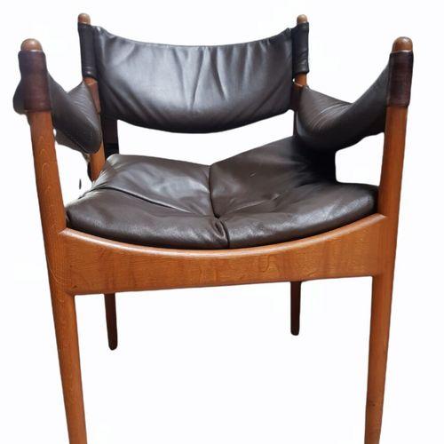 Kristian SOLMER VEDEL (1923 2003) Paire de FAUTEUILS, modèle Modus  Chêne et cui…