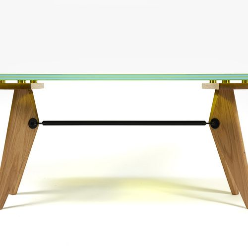 JEAN MICHEL WILMOTTE To be proven, glass slab on Solvay stool, 47 x 41.8 x 116.3…