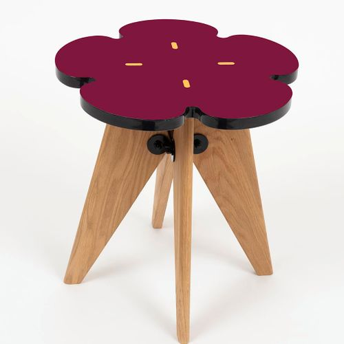 "INDIA MAHDAVI Etamine  ""Sun and vitamins Solvay and stamens Side table and stool…"