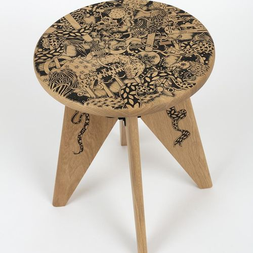 "Claire Fanjul Oculus, Posca marker on Solvay stool  ""I have transformed the seat…"