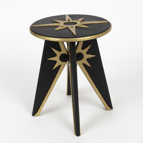 """FRANCK EVENNOU Compass rose, wood and bronze  """"Starting from the small size of t…"""
