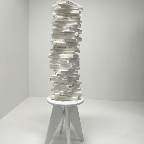 """Ramy Fischler The Oulipian stool """"The stool can also be improvised as a vertical…"""