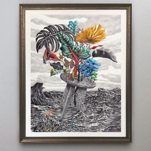 Aksel Varichon Prouvé's raft, graphite, watercolour, coloured pencils on William…
