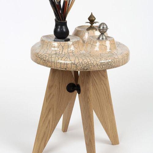 Eric Robin Conjunction, Calco Alkaline Fritte on chamotte stoneware tray, raku f…