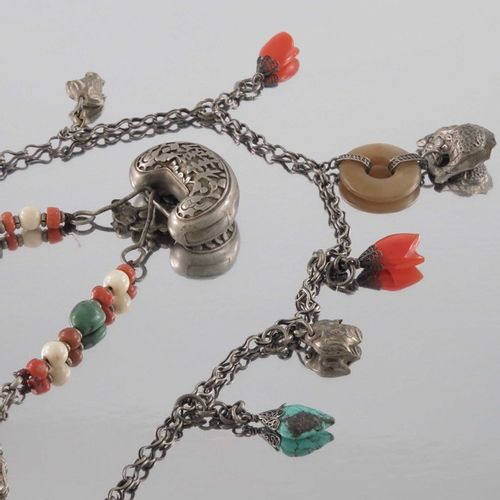 Two Chinese silver and hardstone necklaces, one with charm style pendants includ…