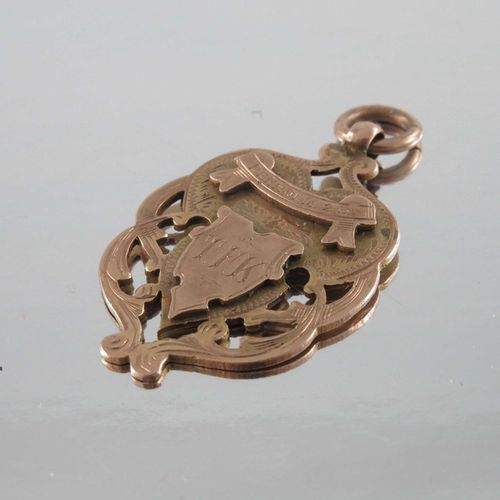 Two 9 carat gold medal fobs or pendants, 4cm long, 15.1g