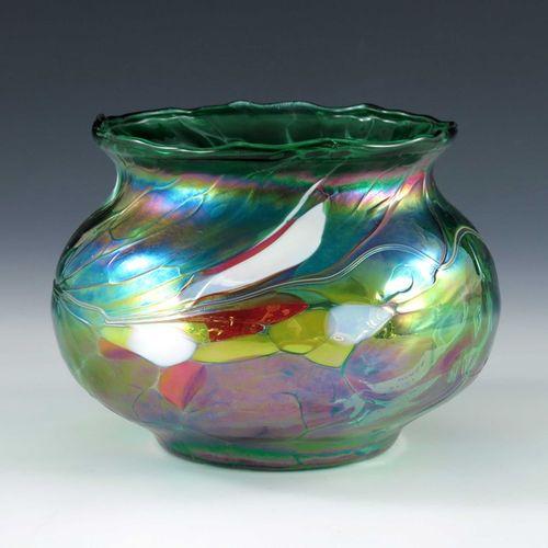 An Austrian Secessionist iridescent glass vase, possibly Kralik, circa 1900, ovo…