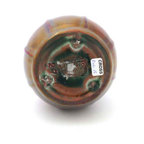 Pilkington, vase lustré Royal Lancastrian, vers 1911, globe moulé à côtes et for…