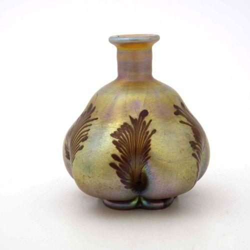 Louis Comfort Tiffany, vase ou bouteille en verre irisé Art Nouveau, Favrile, ve…