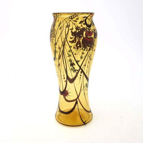 Stuart and Sons, vase en verre émaillé Art Déco, vers 1931, forme balustre inver…