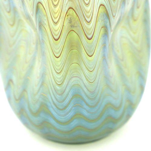 Loetz, vase en verre iridescent de style Sécession, PG 6893, Mountain Blue, form…