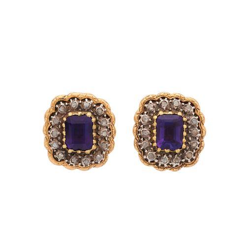 Une paire de boucles d'oreilles en or, améthyste et diamant taillé en rose, avec…