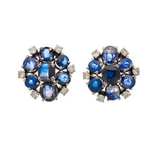 Paire de boucles d'oreilles saphir en forme de coussin et diamant taille brillan…
