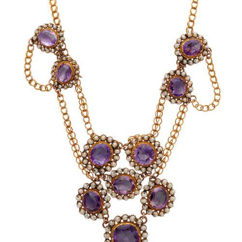 Collier feston en or, améthyste et perles de rocaille, datant du 19e siècle, ave…