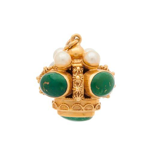 Pendentif en or 18ct en cabochon de turquoise et perle de culture, estampillé 75…
