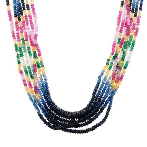 Collier de saphirs à rangs multiples, avec cordon noir ajustable, comprenant des…