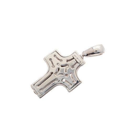 Un pendentif croix en or 18ct, avec une superposition centrale rainurée et une m…