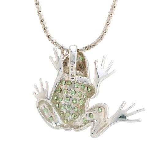 Un pendentif en or 18ct en grenat tsavorite et diamant, conçu comme une grenouil…