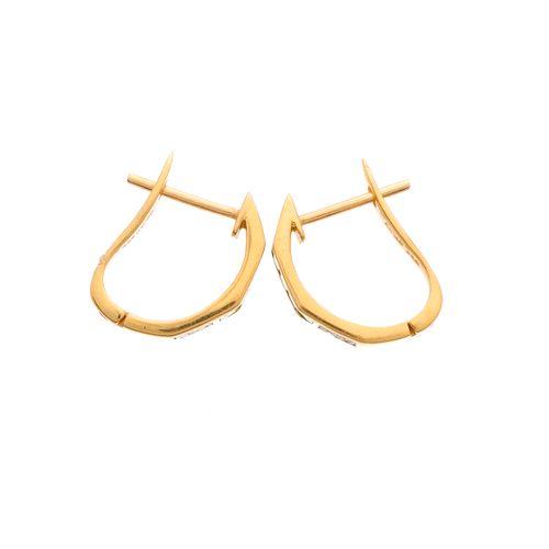 Paire de boucles d'oreilles demi cercle en or 18ct avec émeraudes et diamants ta…