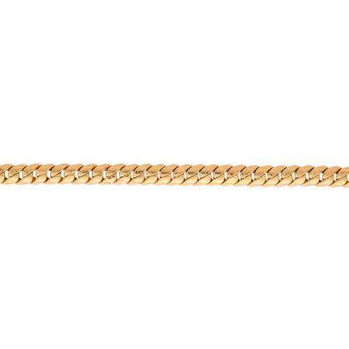 Un bracelet plat en or italien, avec fermoir mousqueton, marques italiennes, lon…