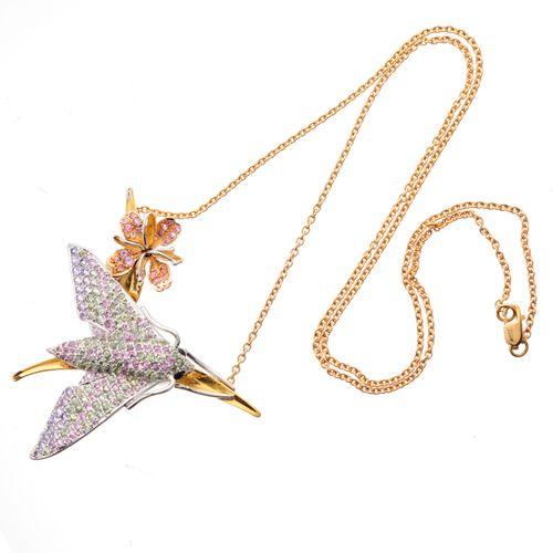 Pendentif en or 18ct saphir rose et vert, papillon de nuit et fleur, avec chaîne…