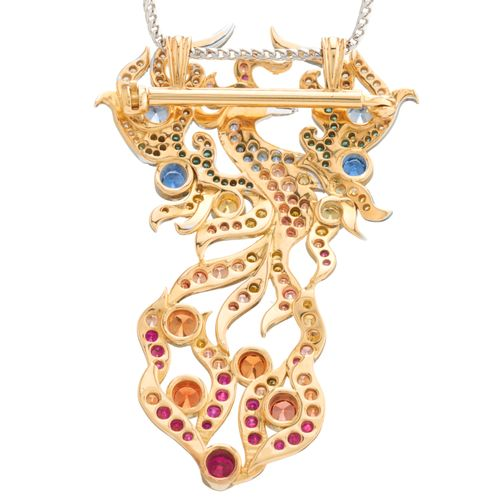 Un collier phoenix en or 18ct, saphir, rubis et diamant, convertible en broche, …