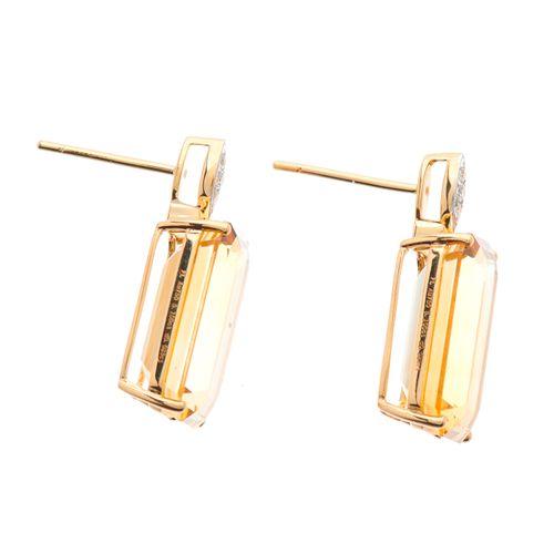 Une paire de boucles d'oreilles en or 18ct, citrine et diamant taille brillant, …