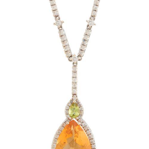 Collier en or 14ct, citrine, péridot et diamant taille brillant, poids total est…