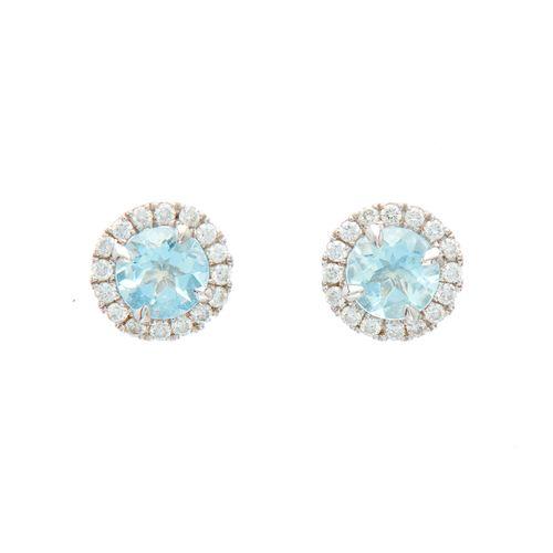 Paire de boucles d'oreilles en or 18ct pour aigue marine et diamant taille brill…
