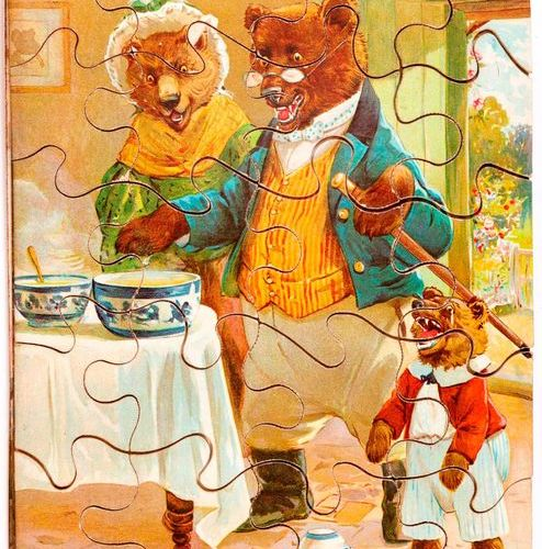 """PUZZLES. Set of 5 puzzles for children. 19th early 20th c. 1 3. """"The Booted Cat""""…"""