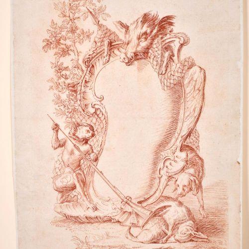 Christophe Huet (1700 1759) French. A Singerie Frontispiece Design, Sanguine, Si…
