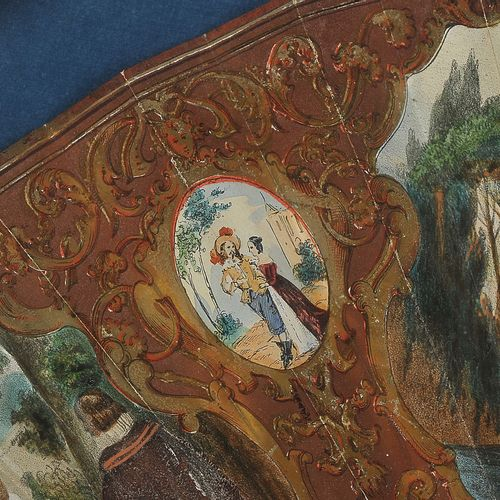 Éventail  18ème / 19ème siècle  Aquarelle et peinture à l'or  Monture en ivoire …