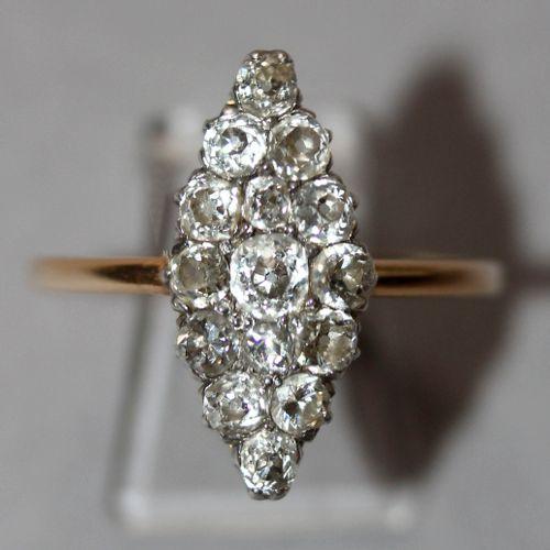 Ring mit 15 Diamanten von zus. Über 1 ct, 585er GG, ,rautenförmig angeordnete Di…