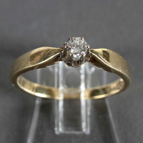 Ring mit Brillant von 0,14 ct, 585er GG, ,gestempelt 585 und 0,14 ct, in WG gefa…