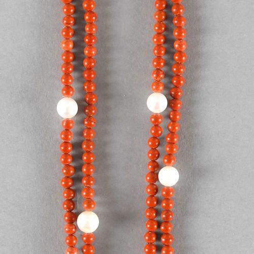Korallenkette mit Perlen, ,zweireihige Kette mit kugelförmigen Korallencabochons…