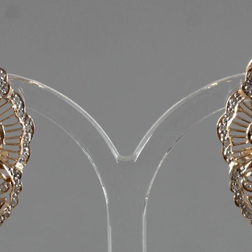 Paar Ohrstecker mit Brillanten, 585er GG und WG, ,rautenförmig mit jeweils drei …