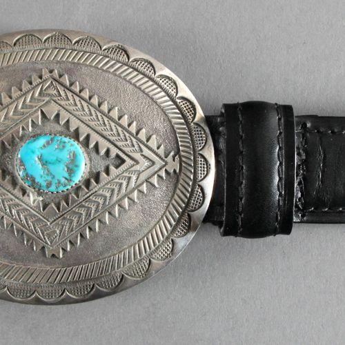 Indianische Gürtelschnalle aus Sterlingsilber mit Türkisbesatz, 20. Jh., ,große …