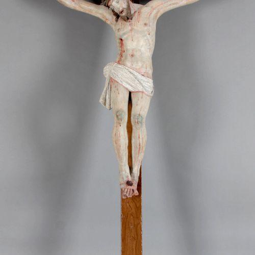 Kruzifix, farbig gefasste Holzskulptur, Italien, 17. Jh., ,sogenannter Dreinagel…