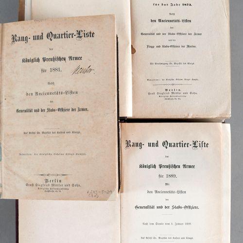Rang und Quartierliste der Königlich Preußischen Armee für 1873, 1881 und 1889 (…