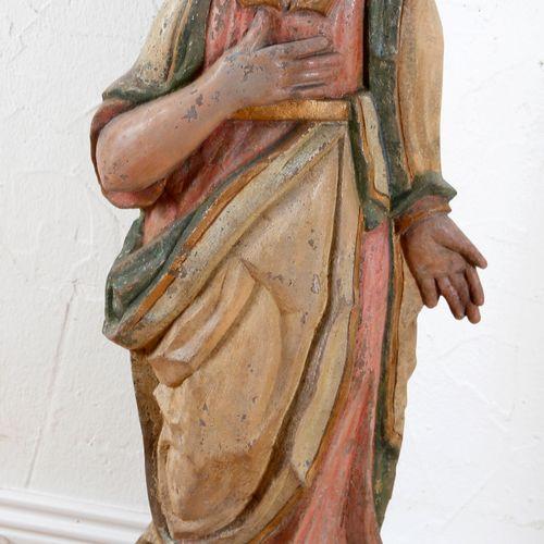 Apostel Johannes, farbig gefasste Skulptur aus grauem Sandstein, Saarland/Lothri…