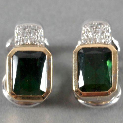Paar Ohrclips mit Smaragd und Brillanten, 750er GG und WG, ,Smaragd im Baguettes…