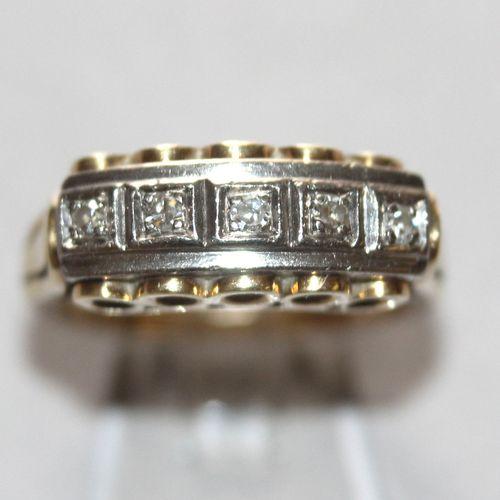 Ring mit 5 kleinen Brillanten, 585er GG u. WG, ,Brillanten von zus. Ca. 0,15 ct …