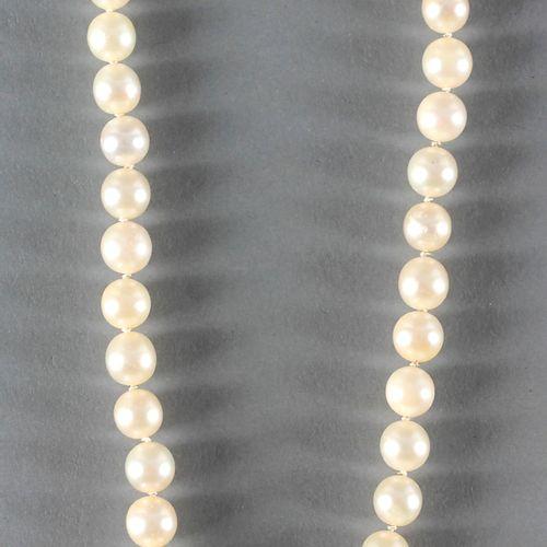 Perlenkette mit Verschluss aus 750er WG besetzt mit blauen Spinellen, ,bestehend…