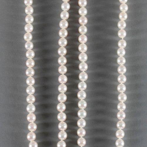 2 Zuchtperlen Halsketten, ,bestehend aus 66 bzw. 81 Perlen von ca. 7,5 mm Durchm…