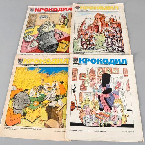 """Konvolut """"Krokodil"""", 4 Ausgaben des sowjetischen Satiremagazins von 1983, ,Numme…"""