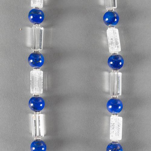 Kette aus Bergkristall und Lapislazuli, ,kugelförmige Lapiscabochons von ca. 14 …