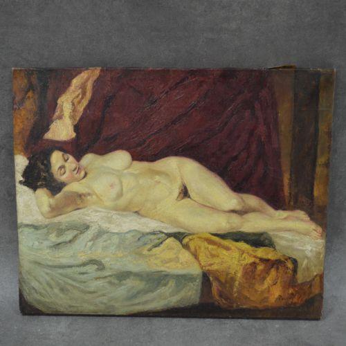 PACOUIL Huile sur toile. Signée PACOUIL . Femme nue allongée. Signature non gara…