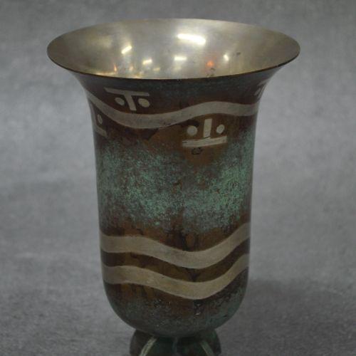 CHRISTOFLE CHRISTOFLE . Vase. Dinanderie art déco. Année 1925 1930 . Dimension 1…